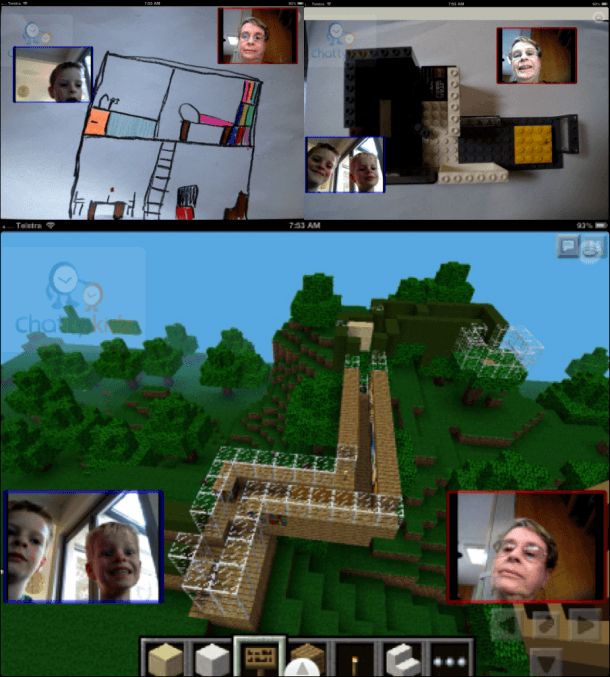 various house designs during a video call
