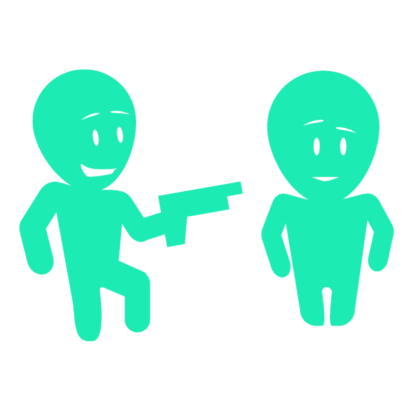 Gamification: Engaging Employees Holding gun to back
