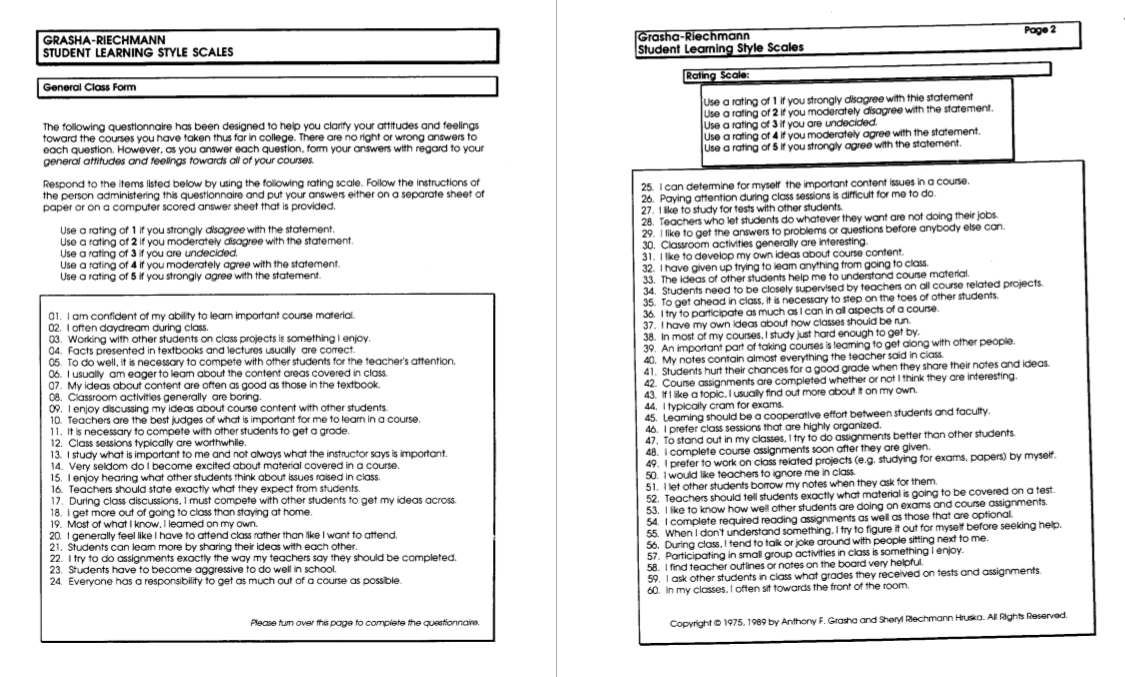 Collaborative Teaching Questionnaire ~ Learning style diagnostics the grasha riechmann student
