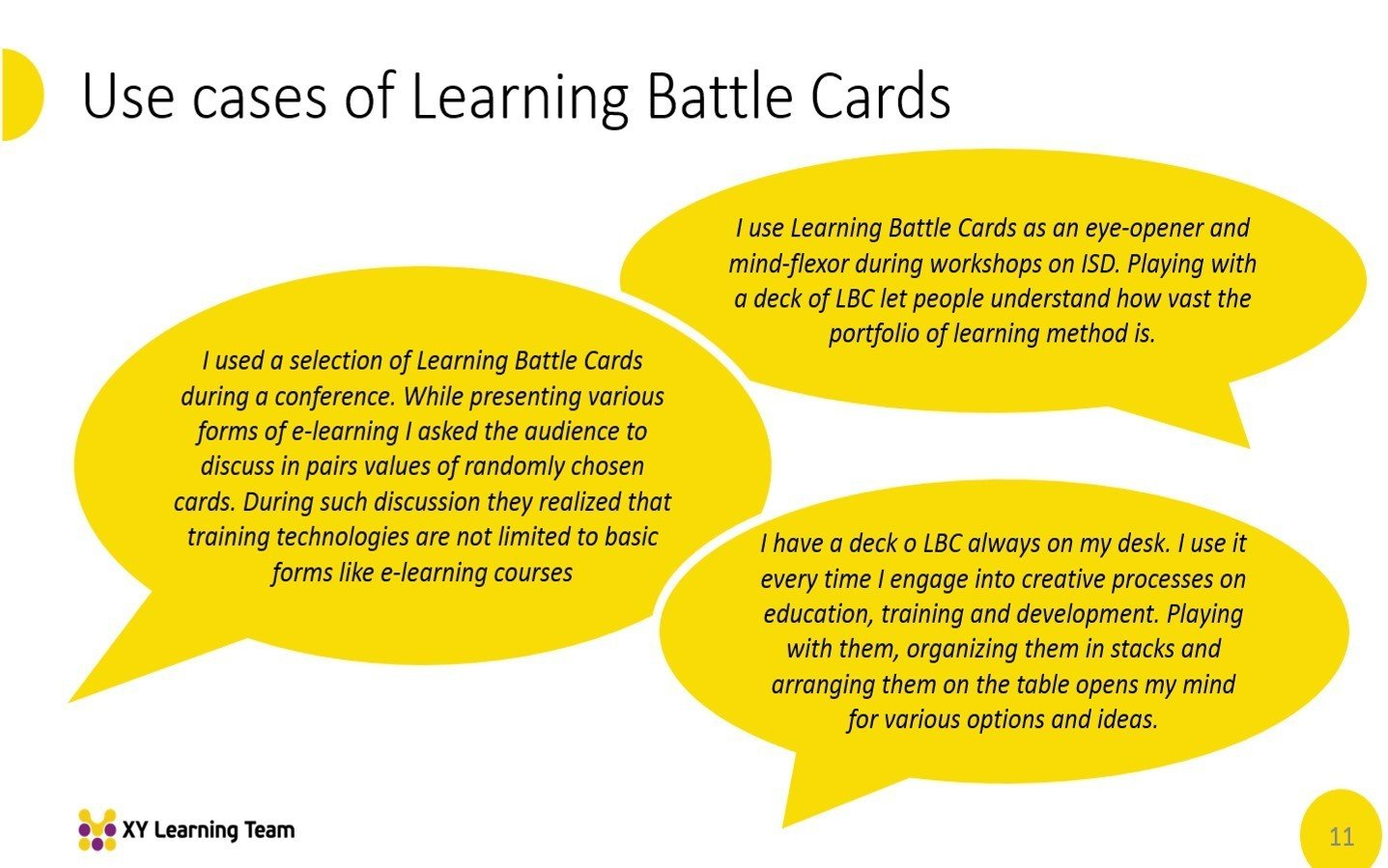 Learning Battle Cards Use cases