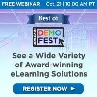 Free Best of DevLearn DemoFest Webinar, October 21 at 10 AM PT