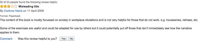 "Review on Amazon. ""Overcoming Anxiety"" by Helen Kennerley"
