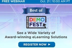 Image for Best Of DevLearn DemoFest Webinar: 13 eLearning Examples To Help You Get New Ideas For Your Work