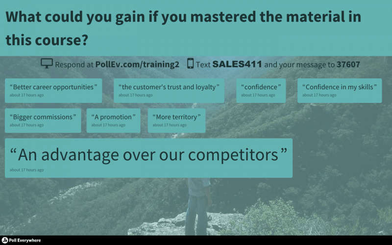 PowerPoint polling about success helps learners focus on the outcome