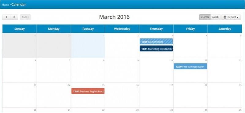 calendar in talentlms