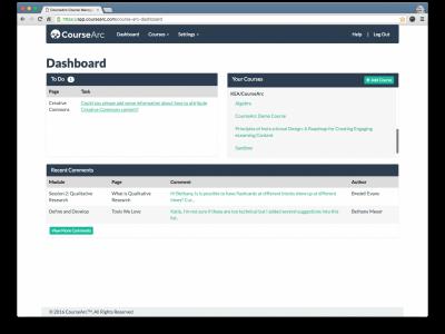 Screenshot of CourseArc