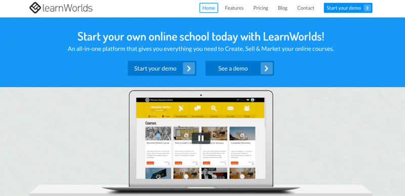 Learning Management Systems: Learnworlds Screenshot
