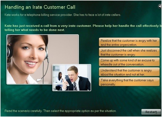 handle an irate customer call scenario