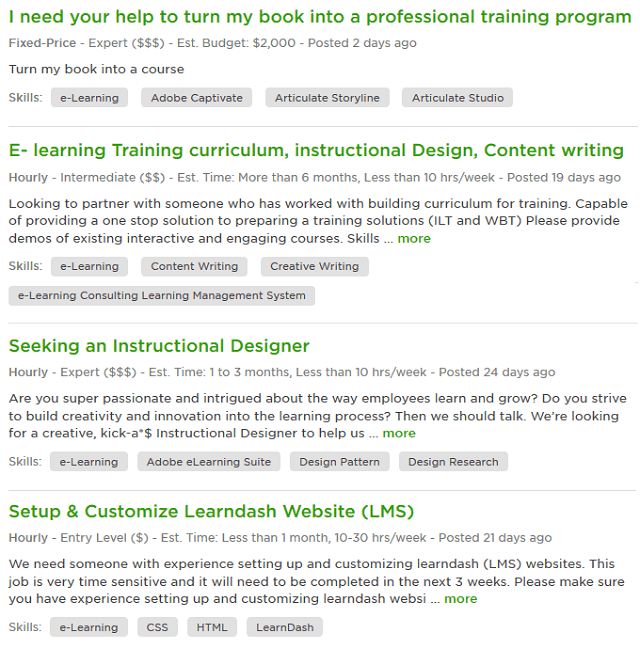 eLearning jobs on Upwork
