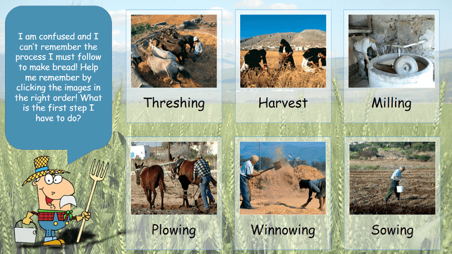 PowerPoint slide with bread process images