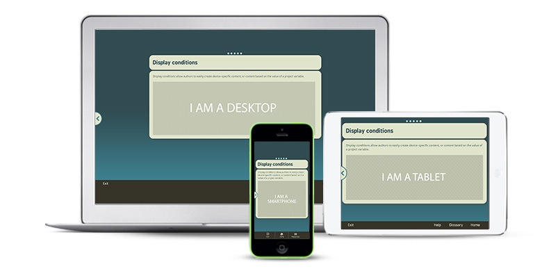 Responsive design authoring tools can display elearning content on multiple devices