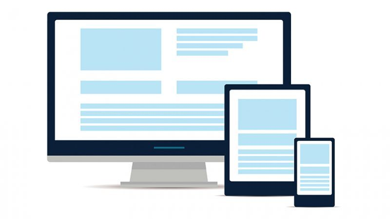Responsive web design in modern flat vector style concept