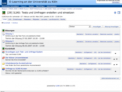 Screenshot of ILIAS
